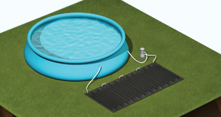 A szolárszőnyeg felfújható peremű vagy fémvázas földfeletti kerti medencékhez illetve azok kisteljesítményű vízforgató szivattyújához lett tervezve