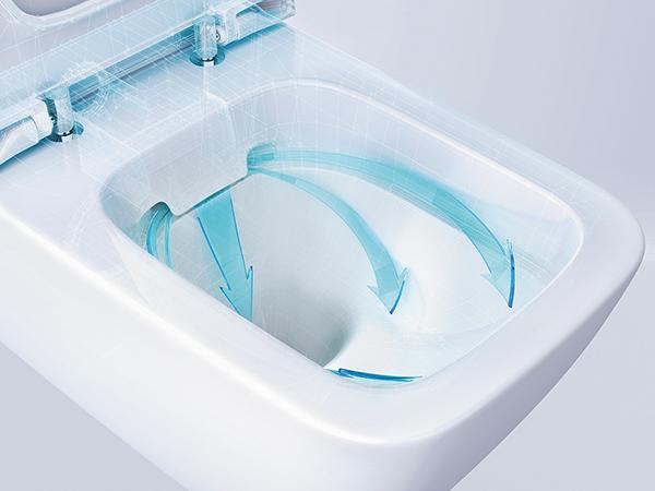 Öblítőperem nélküli WC-kerámia