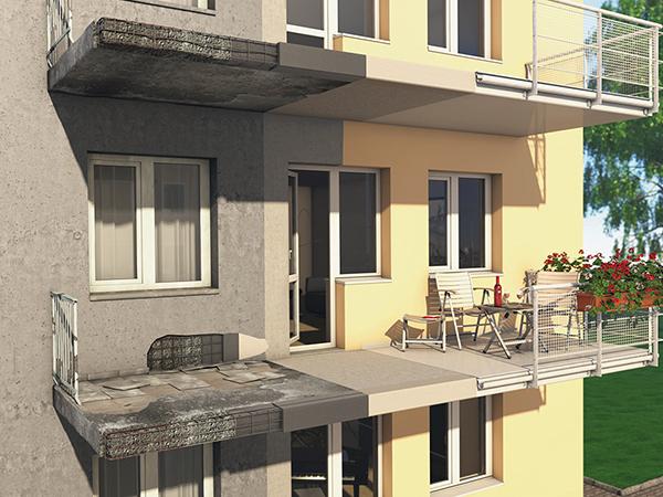 Erkélyek, pillérek, beton lépcsők javítása